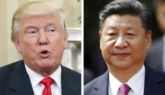 FILE - This combination of two 2016 file photos shows, U.S. President-elect Donald Trump, left, talking with President Barack Obama at White House in Washington, U.S.A. on Nov. 10, and China's President Xi Jinping arriving at La Moneda presidential palace in Santiago, Chile, on Nov. 22. Chinese leaders are meeting to set economic goals for 2017 amid pressure from Trump and European governments over trade and market access. The Economic Work Conference, attended by Xi and other Communist Party leaders, which began Wednesday, Dec. 14, is a throwback to Chinas era of central planning but still plays a key role in directing economic development. (AP Photo/Pablo Martinez Monsivais, Luis Hidalgo, Files)