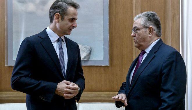 Συνάντηση του Πρωθυπουργού Κυριάκου Μητσοτάκη με τον Γενικό Γραμματέα ΚΚΕ Δημήτρη Κουτσούμπα προκειμένου να τον ενημερώσει για τα αποτελέσματα της συνόδου του Ευρωπαϊκού Συμβουλίου και για τις εξελίξεις στα εθνικά μας θέματα