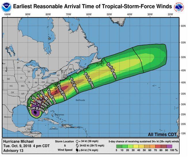 ΗΠΑ: Ο κυκλώνας Μάικλ πλησιάζει τη Φλόριντα - Αναμένονται άνεμοι ταχύτητας 195 χλμ την ώρα