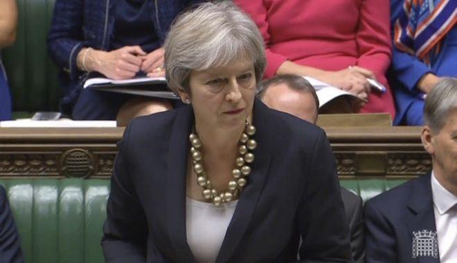 Η Βρετανίδα πρωθυπουργός Τερέσα Μέι στη βουλή