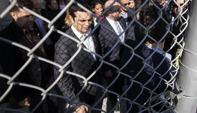 The Prime Minister of Greece, Alexis Tsipras and the President of the European Parliament Martin Schulz, visited the first hot spot of Moria in Lesbos island, on November 5, 2015 /            ,         ,  5 , 2015