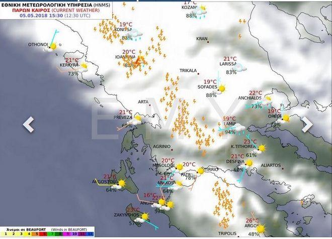 Οι καταιγίδες από το μεσημέρι επηρέασαν όλο τον κορμό της Πίνδου των ορεινών τμημάτων της Δυτικής Στερεάς και της Πελοποννήσου