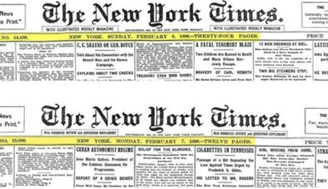 Ποτέ δεν είναι αργά. Οι NYT ανακάλυψαν λάθος στο εξώφυλλο μετά από 100 χρόνια