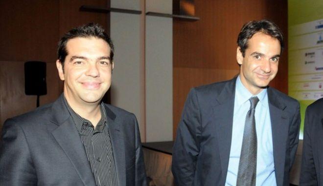 """Ο Πρόεδρος Κ.Ο. ΣΥΡΙΖΑ Αλέξης Τσίπρας, αριστερά, ο Βουλευτής της Ν.Δ. Κυριάκος Μητσοτάκης, κέντρο και ο Πρόεδρος της Ειδικής Μόνιμης Επιτροπής Προστασίας Περιβάλλοντος της Βουλής Κώστας Καρτάλης, δεξιά, στο 2ο Συνέδριο Εconomist με θέμα: """"Η πράσινη ατζέντα μετά την Κοπεγχάγη"""", Τετάρτη 20 Οκτωβρίου 2010. (EUROKINISSI // ΔΙΟΝΥΣΗΣ ΠΑΤΕΡΑΚΗΣ)"""