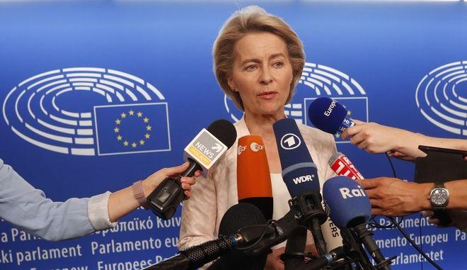 Η Γερμανίδα Ούρσουλα φον ντερ Λάιεν στο ευρωκοινοβούλιο στο Στρασβούργο