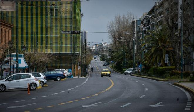 Έλάχιστη η κίνηση στους δρόμους της Αθήνας