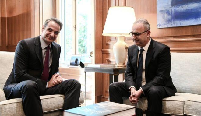 Συνάντηση του Πρωθυπουργού Κυριάκου Μητσοτάκη με τον Πρόεδρο του Δημοκρατικού Συναγερμού, Αβέρωφ Νεοφύτου, την Δευτέρα 17 Φεβρουαρίου 2020.