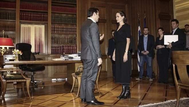 Meeting between the Greek Prime minister Alexis Tsipras and the UNHCR's Goodwill Ambassador, Angelina Jolie, in Athens, on March 16, 2016 /                 ,  ,   ,  16 , 2016