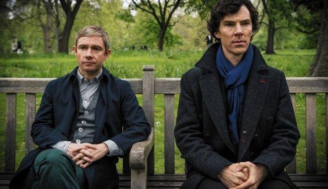 "Martin Freeman stars as John Watson and Benedict Cumberbatch as Sherlock Holmes in ""Sherlock"" on PBS' Masterpiece. (Robert Viglasky/Hartswood Films/PBS/MCT) ** OUTS - ELSENT, FPG, TCN - OUTS **"