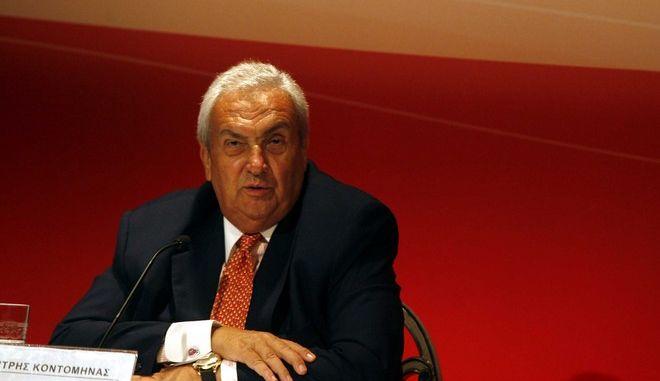Ο Δημήτρης Κοντομηνάς σε στιγμιότυπο απο την συνέντευξή του για την μεταβίβαση του καναλιού ALPHA,σήμερα 23 Σεπτεβρίου 2008 ( EUROKINISSI / ΧΑΣΙΑΛΗΣ ΒΑΪΟΣ )