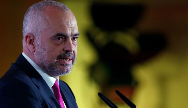 Albanian Prime Minister Edi Rama speaks during the Business Forum Serbia - Albania, in the town of Nis, Serbia, Friday, Oct. 14, 2016. Serbian and Albanian politicians and businessmen are meeting in Nis as part of efforts to boost ties between Balkan rivals and help stabilise the troubled region.(AP Photo/Darko Vojinovic)