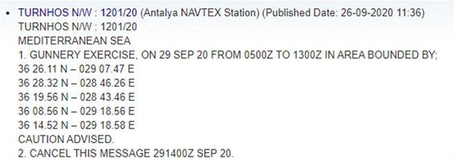 Νέα τουρκική NAVTEX: Άσκηση με πραγματικά πυρά μεταξύ Ρόδου και Καστελόριζου