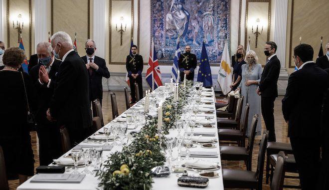 Επίσημο Δείπνο στο Προεδρικό Μέγαρο για τους προσκεκλημένους των εκδηλώσεων για τη συμπλήρωση 200 ετών από την Επανάσταση του 1821, 24 Μαρτίου 2021