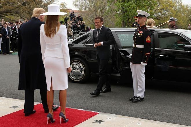 To ζεύγος Τραμπ υποδέχεται τους Μακρόν στον Λευκό Οίκο