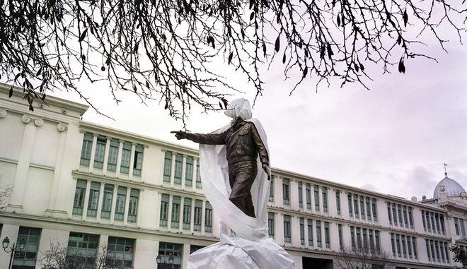Statue under construction of Alexandros Panagoulis, resistance fighter against the fascist regime