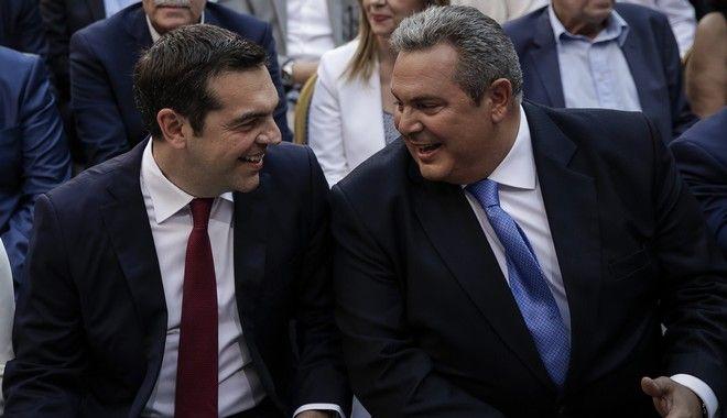 Στιγμιότυπο από την κοινή συνεδρίαση των ΚΟ ΣΥΡΙΖΑ - ΑΝΕΛ, στο Ζάππειο