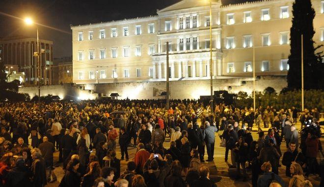 Συγκέντρωση υποστήριξης της ελληνικής κυβέρνησης, στην πλατεία Συντάγματος, την Πέμπτη 5 Φεβρουαρίου 2015. (Phasma// ΝΙΚΟΛΑΙΔΗΣ ΓΙΩΡΓΟΣ)