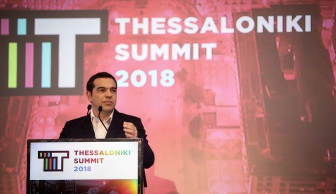 """Στιγμιότυπο από την ομιλία του Πρωθυπουργού στην 3η σύνοδο """"Thessaloniki Summit 2018"""""""