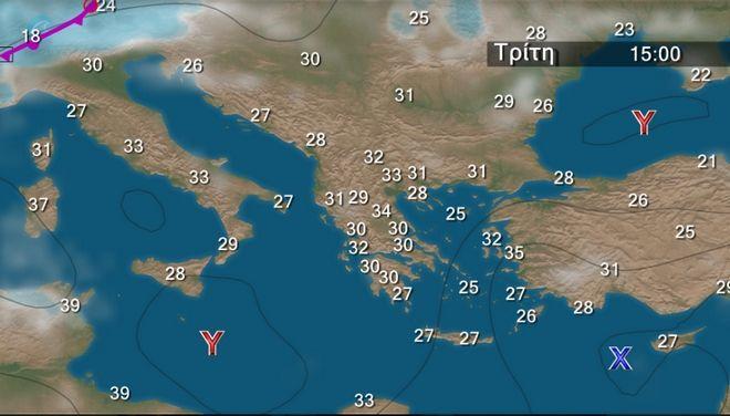 Θερμοκρασία σε κανονικά επίπεδα την Τρίτη - Μελτέμι στο Αιγαίο