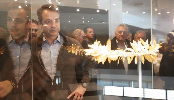 Ο Πρόεδρος της Νέας Δημοκρατίας Κυριάκος Μητσοτάκης, στο Αρχαιολογικό Μουσείο Πέλλας  την Πέμπτη 11 Ιανουαρίου 2018. (EUROKINISSI/ΓΡΑΦΕΙΟ ΤΥΠΟΥ ΝΔ/ΔΗΜΗΤΡΗΣ ΠΑΠΑΜΗΤΣΟΣ)