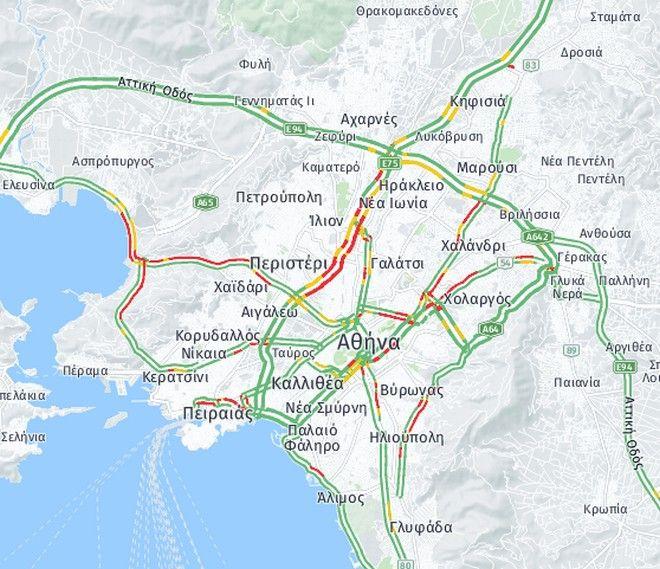 Κίνηση στους δρόμους: Μποτιλιάρισμα στον Κηφισό - Πού σημειώνονται καθυστερήσεις