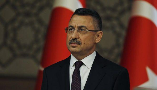 Ο Τούρκος αντιπρόεδρος Φουάτ Οκτάι σε συνέντευξη Τύπου στην Άγκυρα