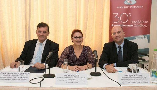 Από αριστερά: Αθανάσιος Δημόπουλος, Μαρία Παγώνη, Ευάγγελος Τέρπος