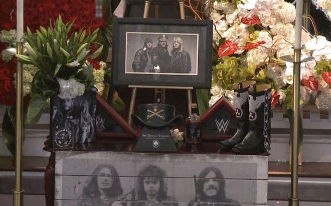 Screengrab taken from You Tube of the memorial service of Motorhead frontman Ian