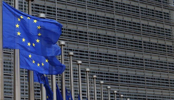 Σημαία ΕΕ έξω από την Ευρωπαϊκή Επιτροπή, Βέλγιο