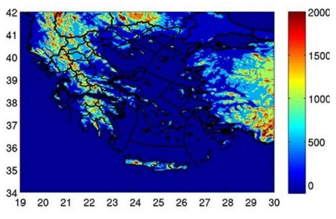 Σχήμα:Υψόμετρο που σημειώνονται κεραυνοί σε διάφορες περιοχές της Ελλάδας
