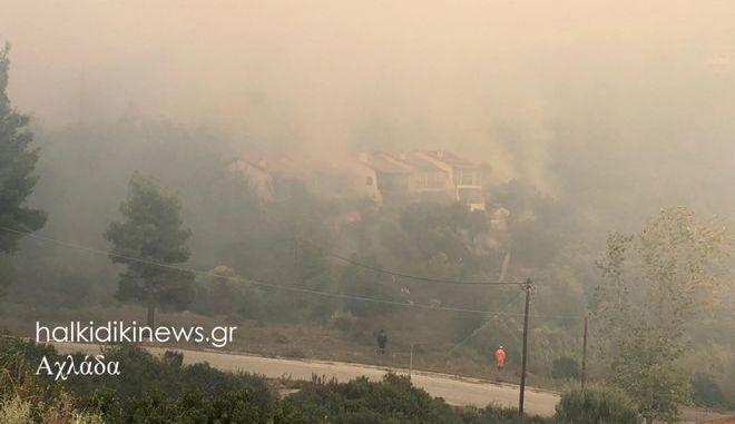 Μαίνεται η μεγάλη φωτιά στη Σιθωνία Χαλκιδικής