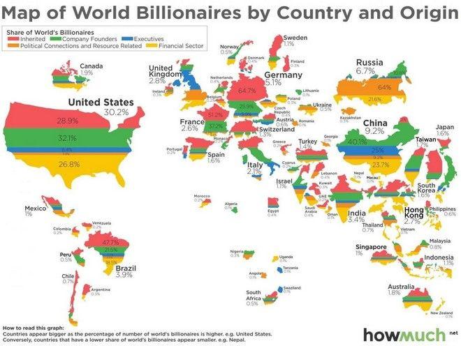 Χάρτης: Οι δισεκατομμυριούχοι του κόσμου και πως απέκτησαν τις περιουσίες τους