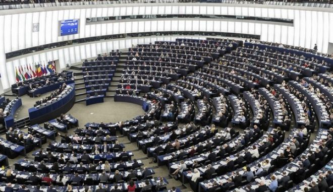 The European Parliament is pictured during the plenary session Wednesday, March 15, 2017 in Strasbourg, eastern France. European Council President Donald Tusk is warning Britain that leaving the EU without any formal agreement would harm the U.K. most. (AP Photo/Jean-Francois Badias)