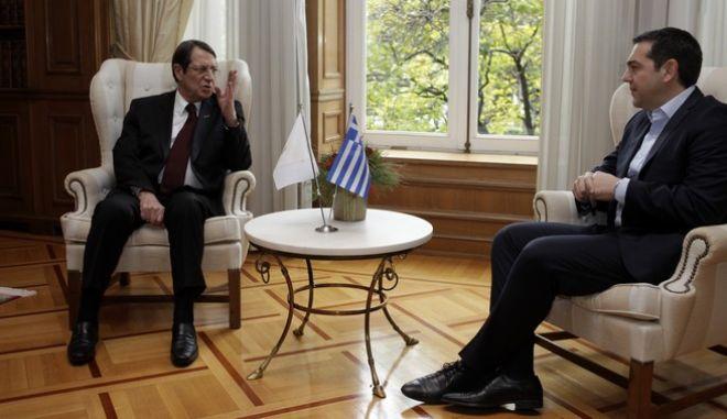 Συνάντηση του πρωθυπουργού Αλέξη Τσίπρα με τον πρόεδρο της Κύπρου Νίκο Αναστασιάδη την Παρασκευή 30 Δεκεμβρίου 2016. (EUROKINISSI/ΓΙΩΡΓΟΣ ΚΟΝΤΑΡΙΝΗΣ)