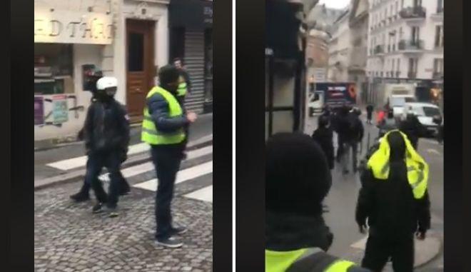 """Η στιγμή που κίτρινα γιλέκα εντοπίζουν """"αστυνομικούς μπαχαλάκηδες"""""""