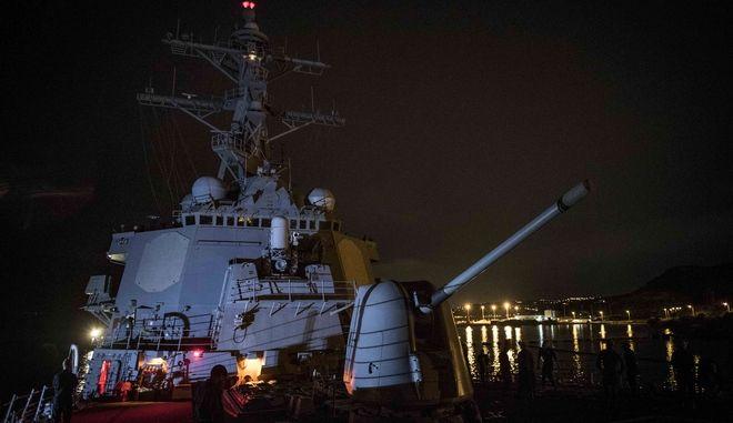 """Στην Σούδα το πλοίο """"φρουρός"""" του Ομπάμα στην επίσκεψή του στην Αθήνα"""