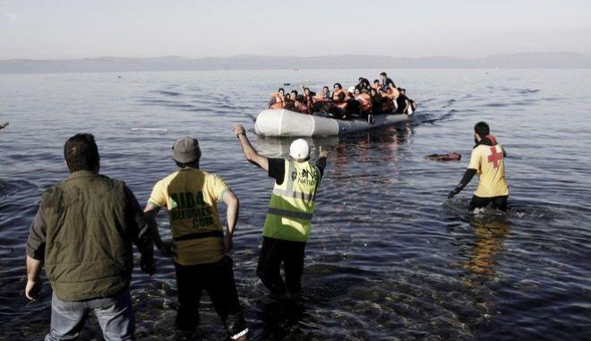 Άφιξη προσφύγων στη Λέσβο