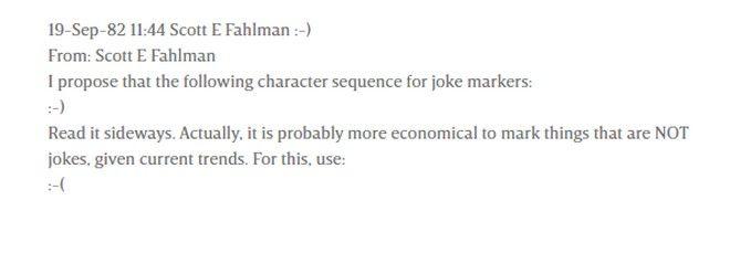 Το μήνυμα του Fahlam, με το πρώτο online emoticon της ιστορίας.