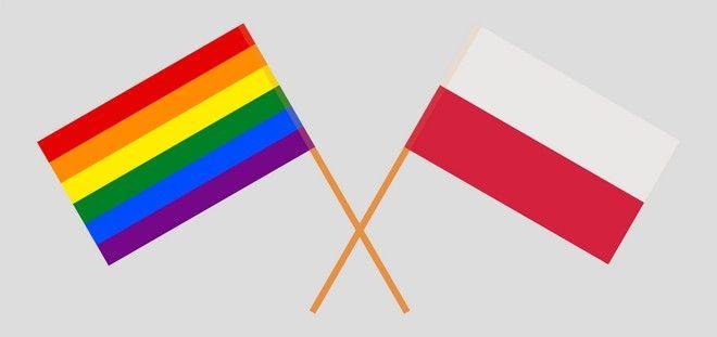 Η σημαία της ΛΟΑΤΚΙ Υπερηφάνειας μαζί με τη σημαία της Πολωνίας