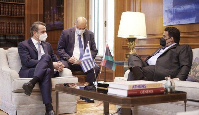Συνάντηση του Κυριάκου Μητσοτάκη με τον Πρόεδρο του Προεδρικού Συμβουλίου της Λιβύης, Mohamed al-Menfi