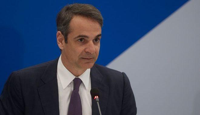 Ο πρόεδρος της ΝΔ Κυριάκος Μητσοτάκης κατά σύσκεψη των γαλάζιων τομεαρχών
