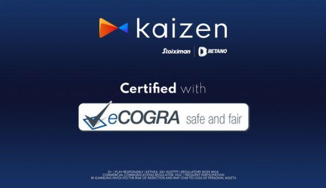 Kaizen Gaming: Διάκριση με τη διεθνή πιστοποίηση eCOGRA Safe and Fair Seal
