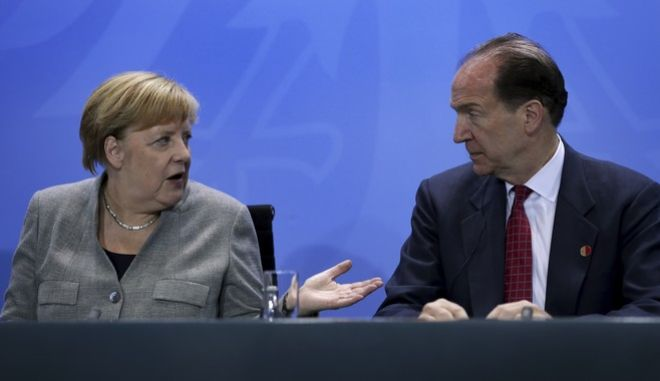 Η Καγκελάριος Άγκελα Μέρκελ και ο πρόεδρος της παγκόσμιας τράπεζας Ντέιβιντ Μάλπας