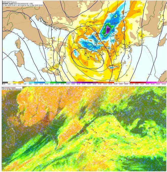 Προγνωστικός χάρτης 500 hPa-Επιφάνειας με υετό και αντίστοιχη δορυφορική εικόνα της Δευτέρας 18:00 UTC