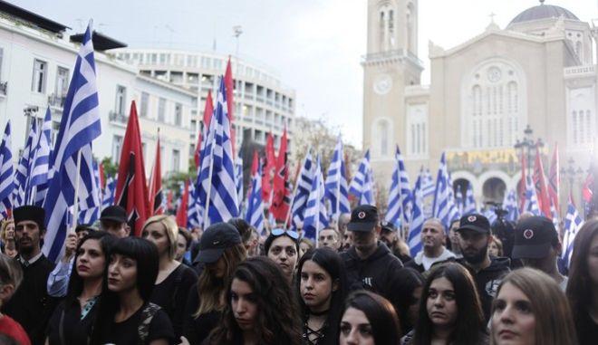 """Εκδήλωση της """"Χρυσής Αυγής"""" για την επέτειο άλωσης της Κωνσταντινοπυπολης την Δευτέρα 29 Μαΐου 2017. (EUROKINISSI/ΓΙΩΡΓΟΣ ΚΟΝΤΑΡΙΝΗΣ)"""