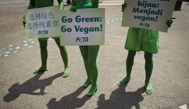 Στιγμιότυπο από διαδήλωση κατά της κρεατοφαγίας (ΦΩΤΟ Αρχείου)