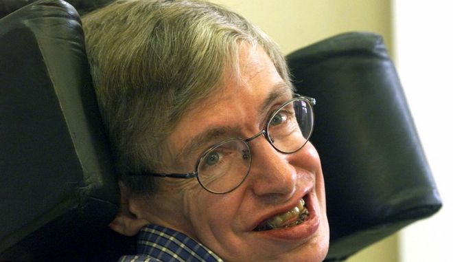"British mathematician, astrophysicist (cosmologist) Stephen W. Hawking smiles during a news conference on the conference on string theory named ""Strings 1999"", held at the University of Potsdam, near Berlin, Germany, Wednesday, July 21, 1999. Hawking remains confident that physicists will prove string theory, a so-called ``theory of everything'' to explain the universe, but said, Wednesday, it might take longer than he had expected. (AP Photo/Markus Schreiber)"