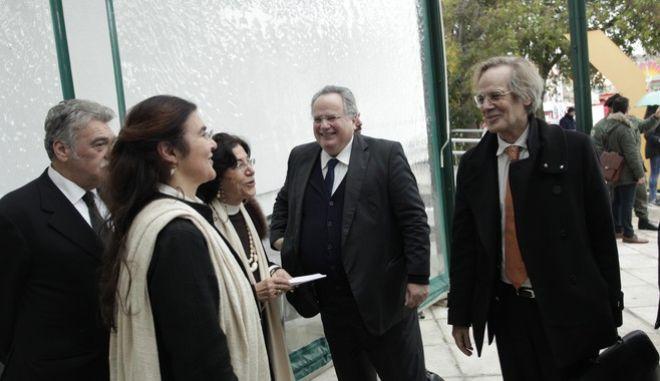 """Συναντηση του  ΥΠΕΞ, Ν. Κοτζιά, με ΥΠΕΞ Γερμανίας, F.W. Steinmeier στην Θεσσαλονικη  Οι υπουργοι  Κοτζιάς και Steinmeier  μετα την συναντηση τους τελεσαν   στο Μακεδονικό Μουσείο Σύγχρονης Τέχνης τα εγκαίνια της έκθεσης """"Διαιρεμένες Μνήμες"""" .Στην εκδηλωση παρευρευθησαν επισης η υπουργοα Πολιτισμου Λυδια Κονιαρδου, η υπουργος μακεδονιας θρακης , ο υφυπεξ Γιαννης Αμανατιδης ο υφυπ παιδειας Κωστας Ζουραρης ο περιφερειαρχης Απ, Τζιτζικωστας και ο δημαρχος Γιαννης Μπουταρης-ΦΩΤΟ ΧΡΗΣΤΟΣ ΜΠΟΝΗΣ//EUROKINISSI"""