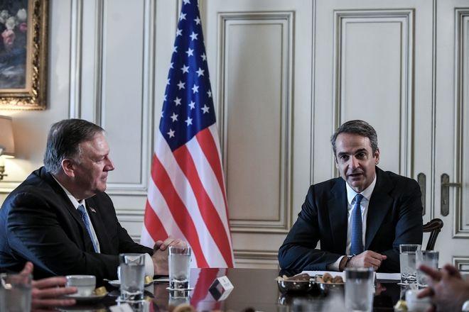 Συνάντηση του Πρωθυπουργού Κυριάκου Μητσοτάκη με τον Αμερικάνο Υπουργό Εξωτερικών Μάικ Πομπέο. Σάββατο 5 Οκτωβρίου 2019. (EUROKINISSI/ΤΑΤΙΑΝΑ ΜΠΟΛΑΡΗ)