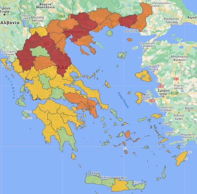 Κορονοϊός: Ο νέος χάρτης υγειονομικής ασφάλειας - Ποιες περιοχές είναι στο